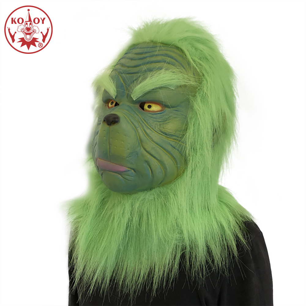 The Grinch Cosplay Grinch Mask Men Women Green Latex Party Cosplay Mask Unisex Headgear Purim Halloween Christmas Accessory