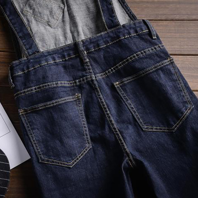 Sokotoo Men's dark blue denim knee length bib overalls shorts Plus big size slim fit suspenders jumpsuits Boy's jeans for summer