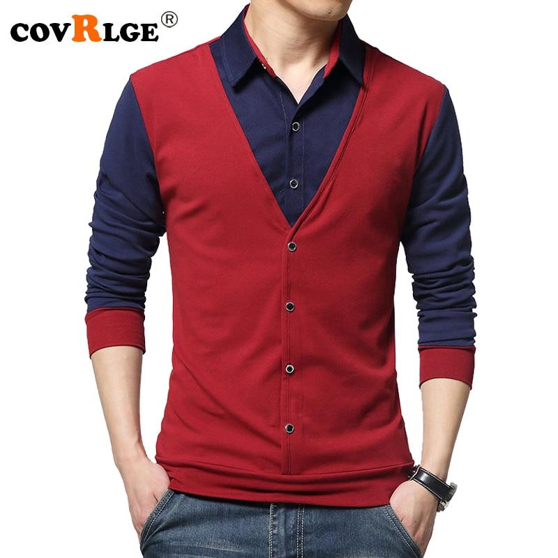 Covrlge Для мужчин футболка с длинным рукавом 2018 Весна мужской отложным Футболки модный пэчворк Для мужчин S футболки Лидеры брендов mtl076
