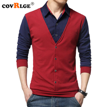 Covrlge Mens T-shirt with Long Sleeve 2018 Spring Male Turn-down T-shirts Fashion Patchwork T Shirts Brand Tops MTL076