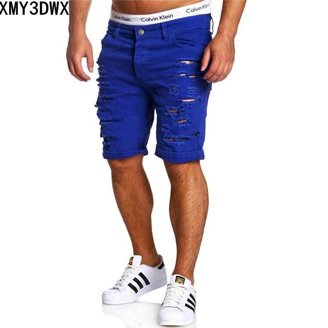 ee3cd3da45c7 2018 New Summer Ripped Mens Denim Shorts Slim Regular Knee Length Short  Hole Jeans Shorts For Male White Blue black red coffee