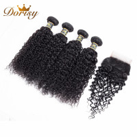 Dorisy Hair Kinky Curly Malaysain 100% Human Hair Weave Bundles Non Remy Hair Extensions Natural Color 4 Bundles With Closure