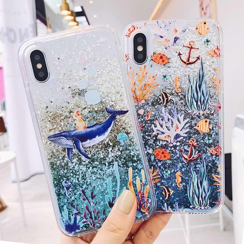Cartoon Whale Coral Dynamic Liquid Quicksand Glitter Case For Xiaomi Mi 8 A2 6X A1 5X Mix 2S Redmi 5 plus Note 5 pro Cover Coque (6)