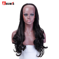 AOSIWIG Half Head Sets Wig Long Curly Wig Black 3 Color Heat Resistant Synthetic Hair Costume
