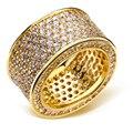 Anillos para el partido chapado en oro con cristal de circón cúbico Anillo de dedo joyería de la alta calidad envío libre tamaño completo