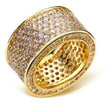 Anillos para el partido chapado en oro con dedo cristalino del zircon cúbico anillo de joyería de la alta calidad envío libre tamaño completo