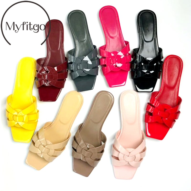 Myfitgo Summer Real Leather Low heels Shoes Chic Women Slippers Beach Shoes EU35 41 Female Strap