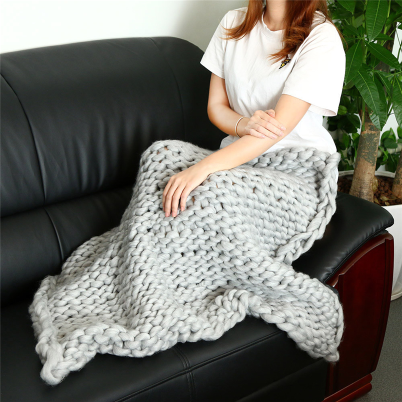 Ouneed Knitted Blanket 2017 Hand Chunky Knitted Blanket