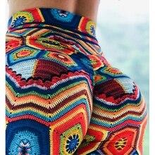 Leggings con estampado de colores 2019 con cintura alta elástica y pantalones transpirables de flores