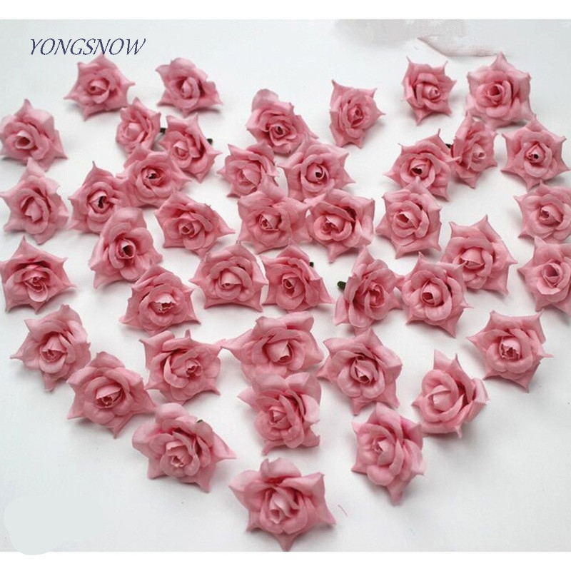 Silk Flowers Rose Artificial Flowers 4cm Head DIY Wreath Home Party Wedding Decoration Scrapbooking Craft Accessories Gifts