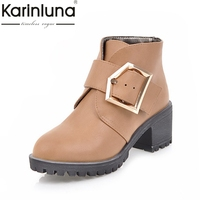 KARINLUNA Large Size 34 43 Western Boots Women Shoes Woman Buckle Up Square Heels Ankle Boots