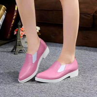 Spring Women British Style Low Heels Flats Shoes In Pink Black Genuine Leather Slip On Comfortable