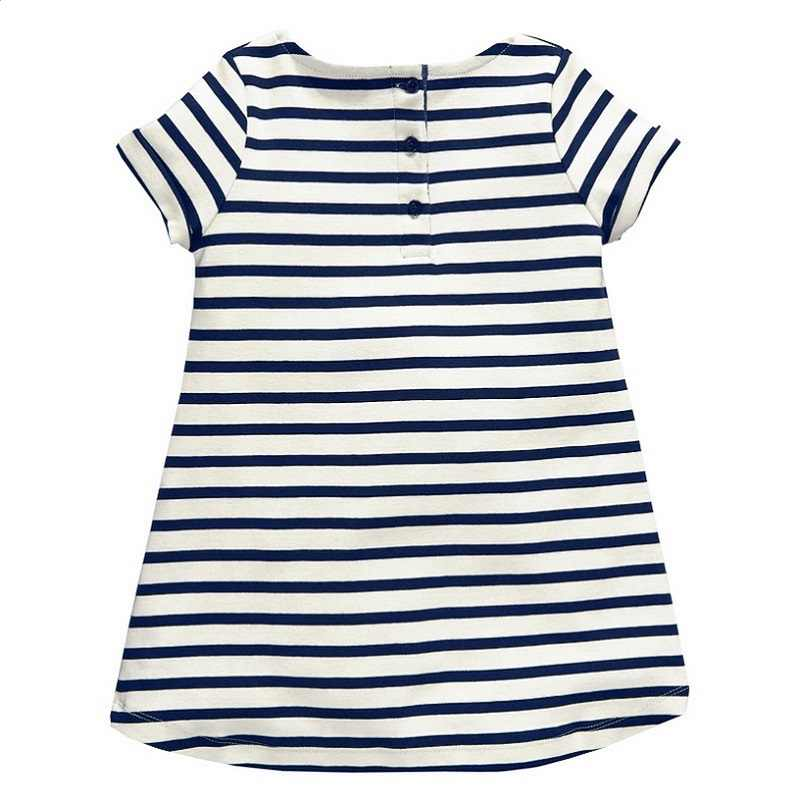 d56178e4bd48f 1-6 Years Baby Girls Dress 2018 New Blue Stripe Summer Dresses Cotton  Casual Long Tops Kids Clothing KF047