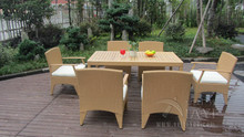 7 pcs Brown Wicker Rattan Garden Dining Sets , Conservatory Furniture Set transport by sea