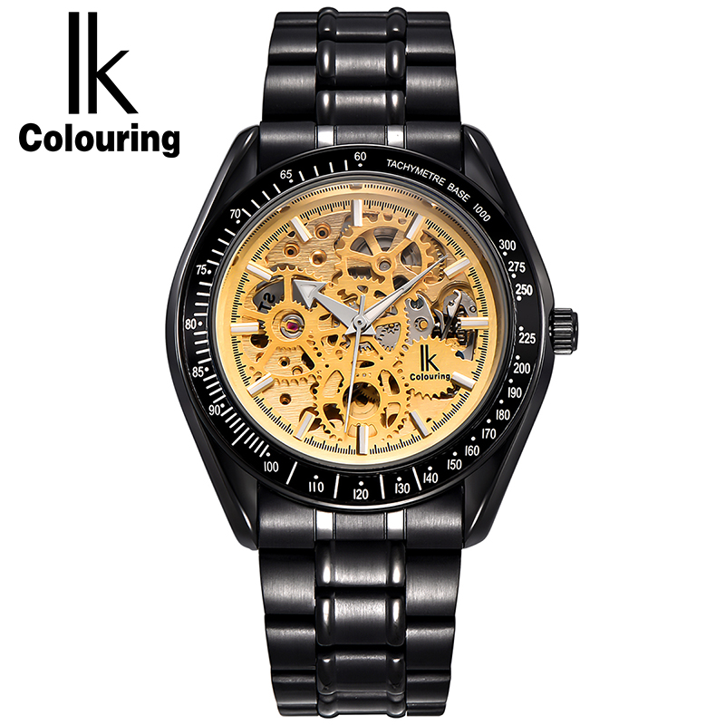 IK Colouring Automatic Mechanical Watch Men Luxury Transparent Hollow Skeleton Clock Full Steel Luminous Fashion Men Watch k colouring women ladies automatic self wind watch hollow skeleton mechanical wristwatch for gift box