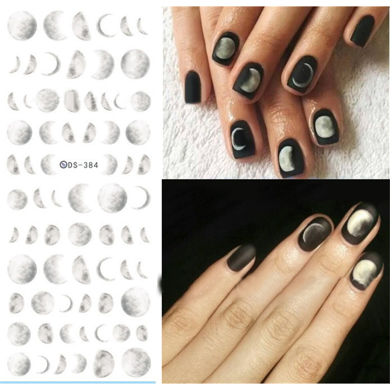 1 Sheet Moonlight Water Decal 12.8*5.4cm Nail Art Sickers Moon Nail Transfer Sticker Decals DS-384 Manicure Tip Decorations 1 sheet beautiful nail water transfer stickers flower art decal decoration manicure tip design diy nail art accessories xf1408