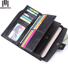 2019 long wallet men genuine leather brand casual clutch wallet male cell phone clutch bag card holder purse with zipper pocket