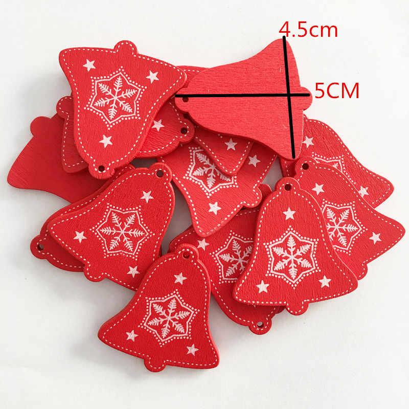 1 sztuk czerwone boże narodzenie drewniane miłość/serce/gwiazda wiszące ozdoby na choinkę choinka wisząca dekoracja ozdoba na choinkę prezenty dla dzieci