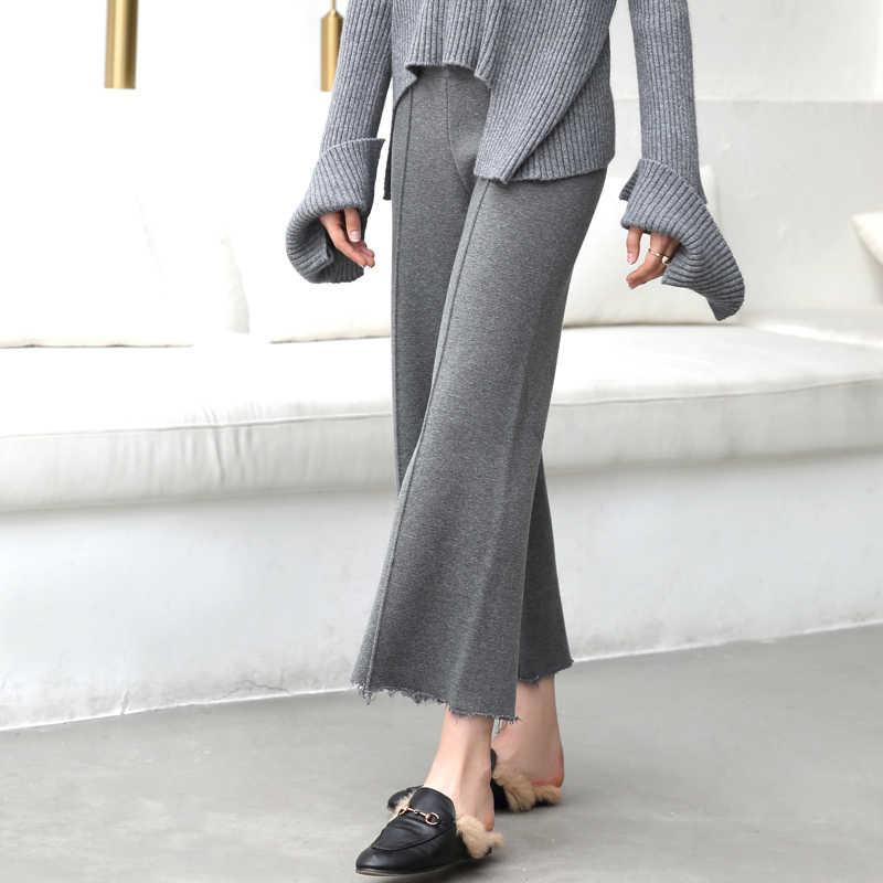 Amii minimalizm z dzianiny szerokie spodnie nogi kobiet jesień zima 2019 moda wełna stałe luźne wysokiej talii na co dzień spodnie