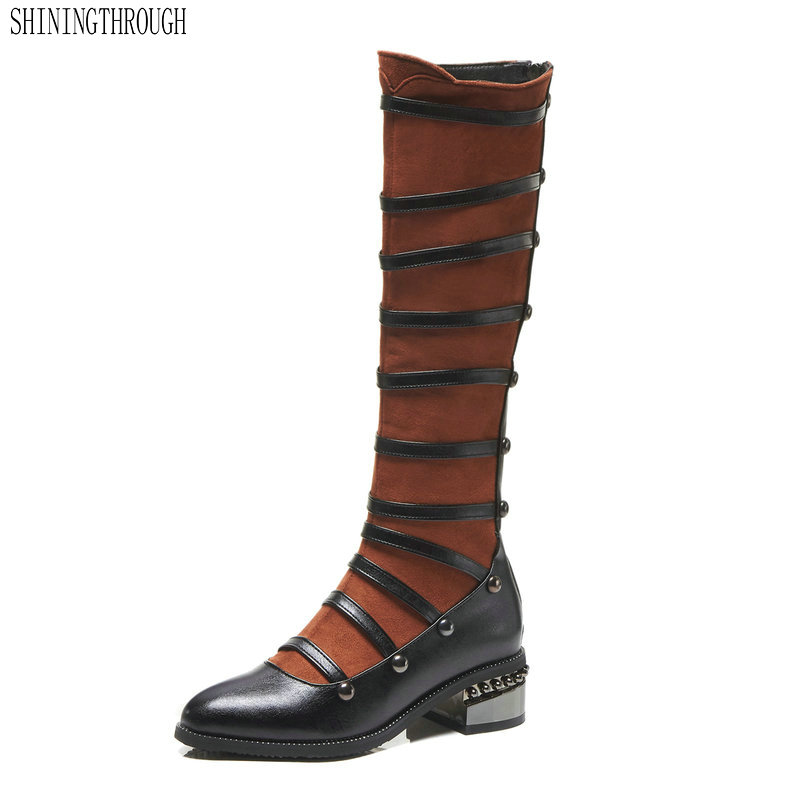 Sexy Knee High women Boots med Heels Design Women Shoes rouned toe Women western Boots black