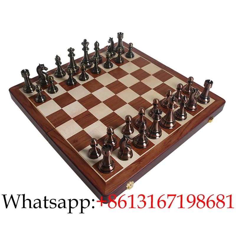 Juego de ajedrez de alta calidad Piezas de ajedrez de bronce Colecciones de juegos Chessman-Travel Tablero plegable portátil Bonito regalo para amigos