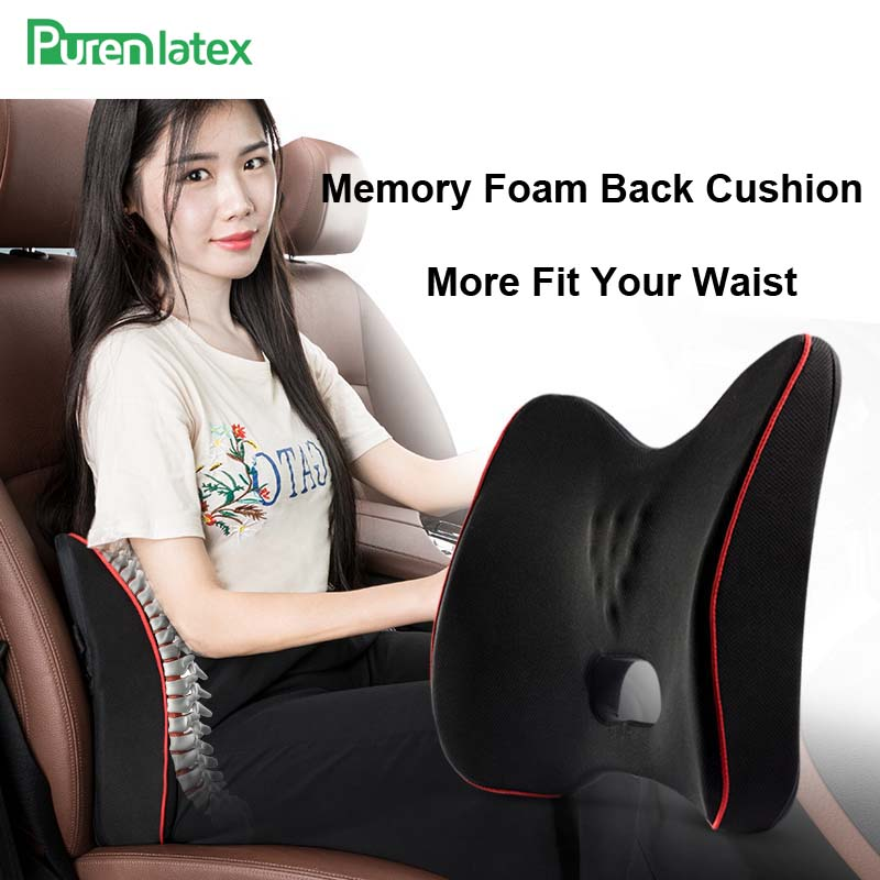 PurenLatex Memory Foam Back Cushion Waist Lumbar Support Spine Coccyx Protect Orthopedic Chair Seat Office Sofa Car Mat