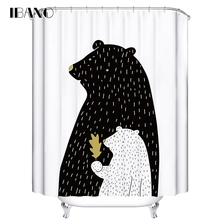 IBANO Shower Curtain Bear Pattern Customized Bath Curtain Waterproof Polyester Fabric Curtain For The Bathroom With 12pcs Hooks animal pattern shower curtain with 12pcs hook