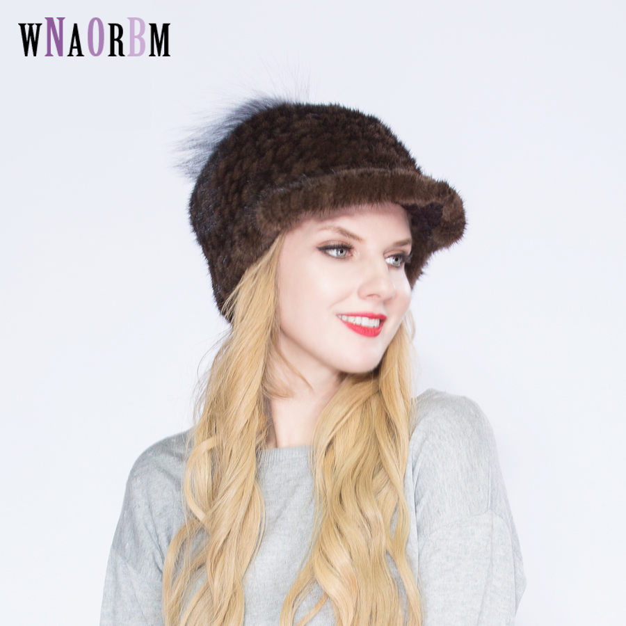 Natural Mink Fur Hats For Women Fashion Mink Fur Warm Luxury Overlord Hat whole skin cap knight hat winter comfortable