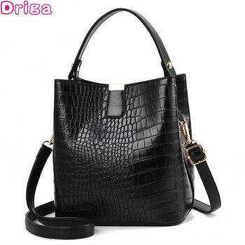 Retro Alligator Bucket Bags Women Crocodile Pattern Handbag Capacity Casual Crocodile Shoulder Messenger Bags Ladies PU Purse 1