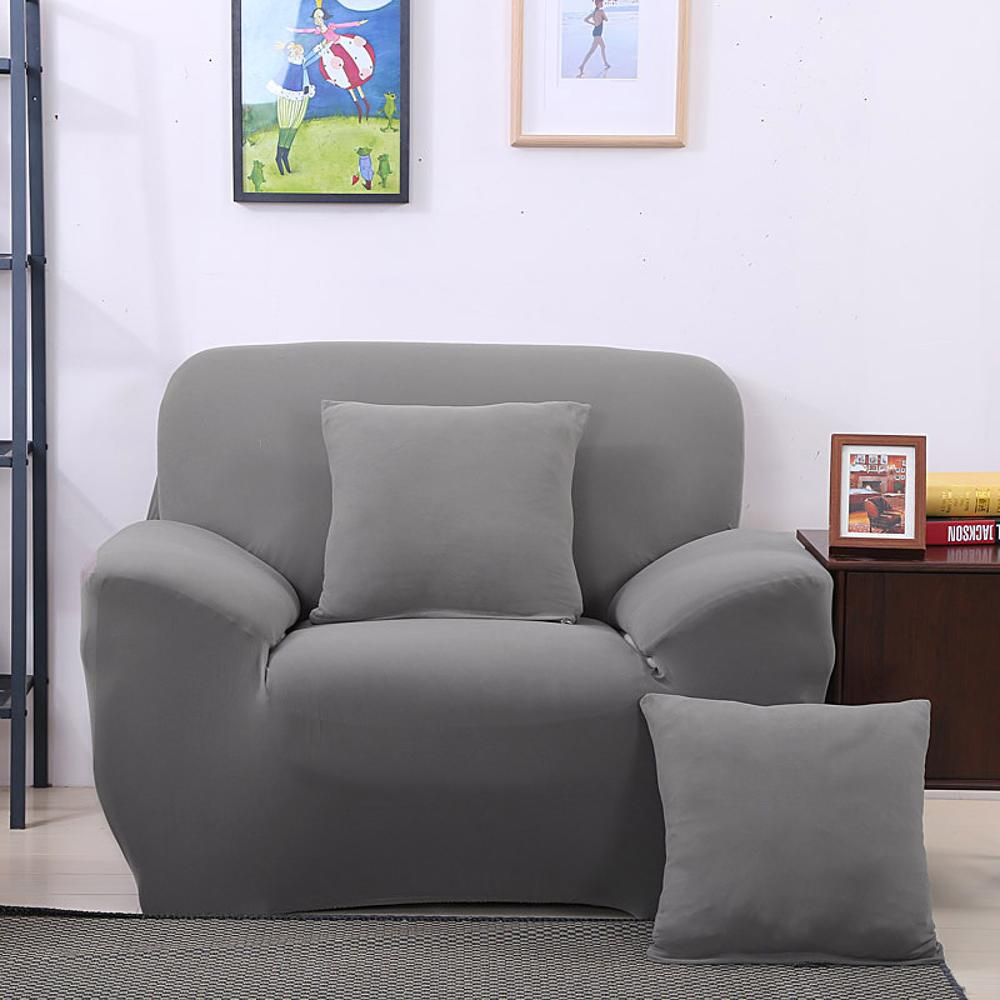 Arm Chair One Seater Sofa Cover Slipcover Stretch Lounge Couch Protector Slip Solid Color Grey Home Textile Decoration In From