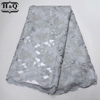 Grey African Cotton Lace Fabric 2019 High Quality Swiss Voile Lace In Switzerland 100% Cotton Embroidery Lace Fabric With Stones