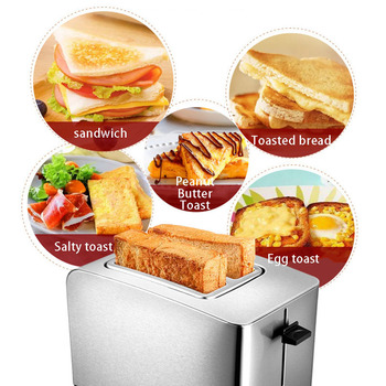 2 Pieces All Stainless Steel Toaster Multi-function Breakfast Machine Automatic Toaster Home Baking Machine 220V 2