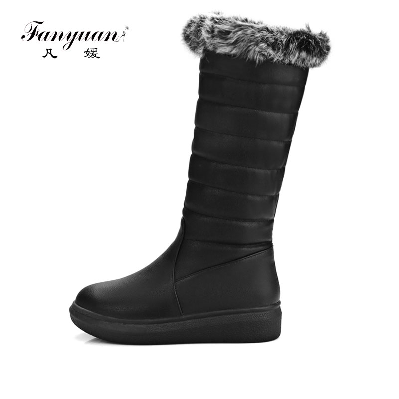 Fanyuan Winter Warm Long Snow Boots Women Rabbit Fur Knee High Boots Ladies Shoes Platform Comfort Casual Snow Boots size 34-43