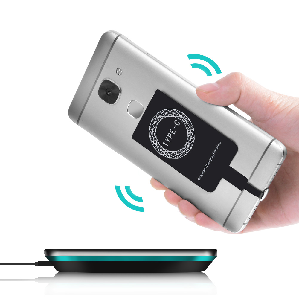 Essien USB Type C Smart Charging Receptor For QI Wireless Charger Reciever Adapter Receiver Pad Coil For Samsung Galaxy Xiaomi