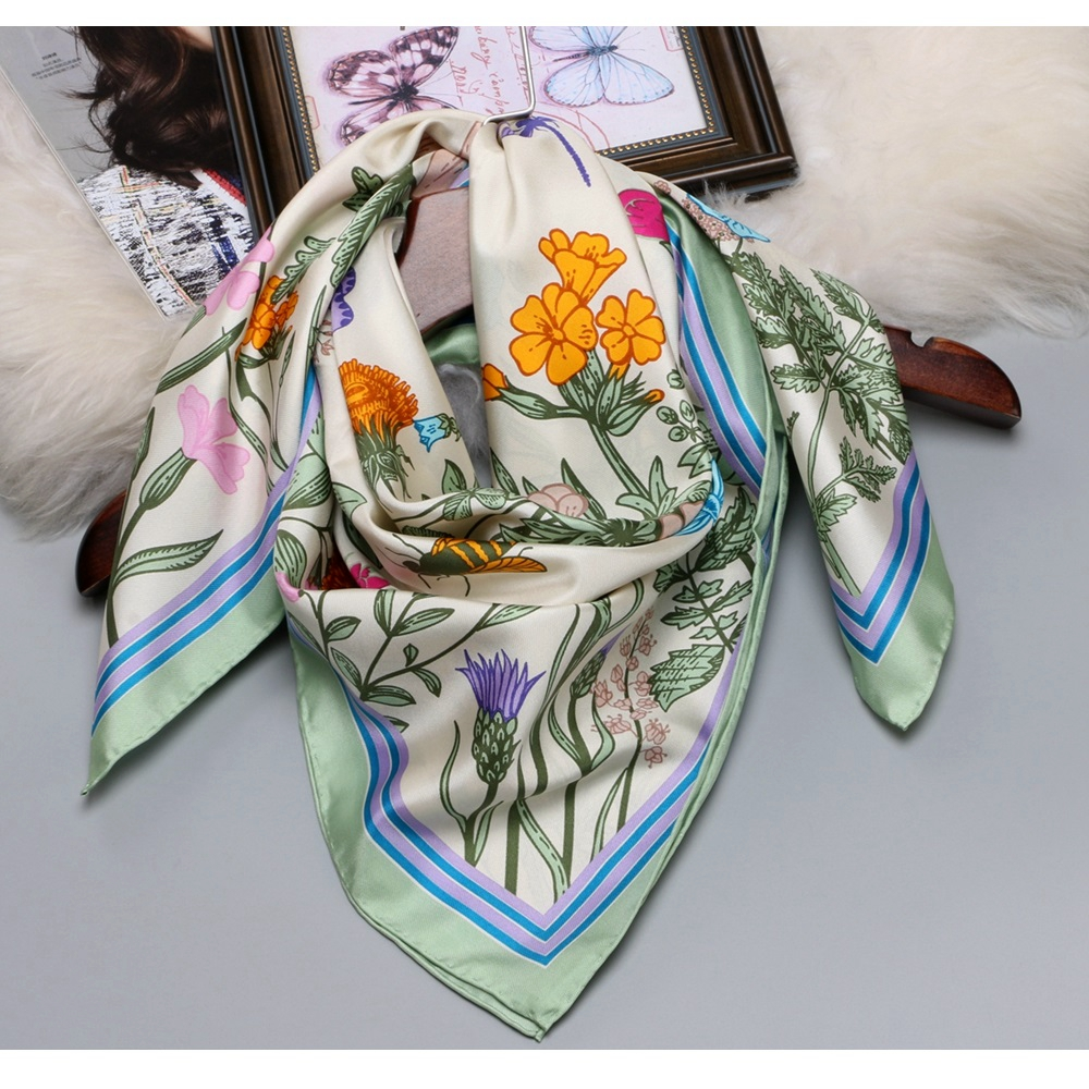 2018 Floral Print Large Square Silk Scarf Shawl Hijab Foulard 100% Silk Twill Scarf Wraps Women Gifts 88x88cm-in Women's Scarves from Apparel Accessories