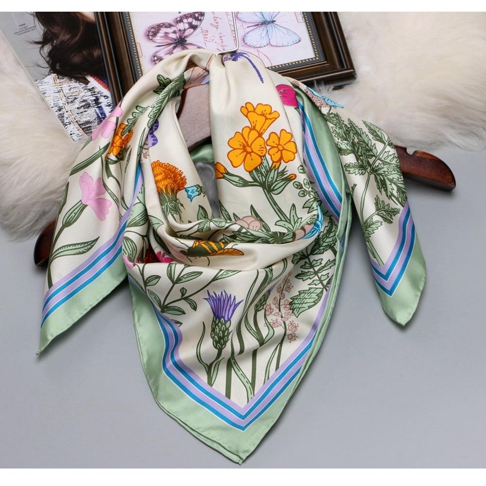 2018 Floral Print Large Square Silk   Scarf   Shawl Hijab Foulard 100% Silk Twill   Scarf     Wraps   Women Gifts 88x88cm