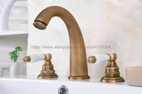 Antique Brass Bathroom Sink Faucet Widespread 3pcs Ceramics Handles Basin 3 Holes Mixer Tap Nan078