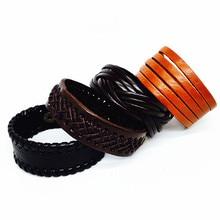 30pcs Genuine Leather Bracelet Men Black/Brown/Coffee Wide Fashion Press button Vintage Cuff charm bangle wristband wholesale