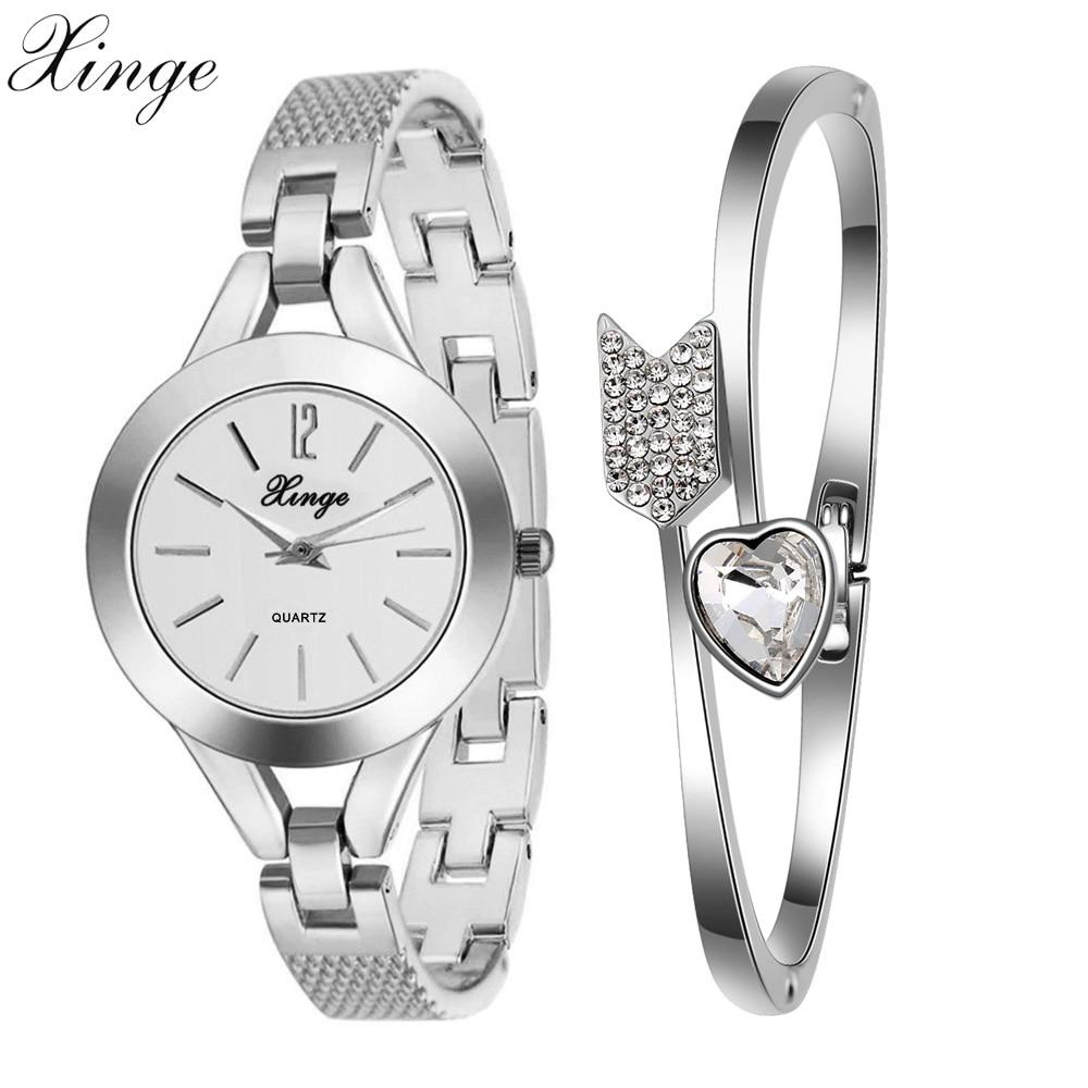 Xinge Popular Brand Watches Women Crystal Heart Bracelet Wristwatches Set Girls Ladies Fashion Casual Jewelry Quartz Watch cute love heart hollow out bracelet watch for women