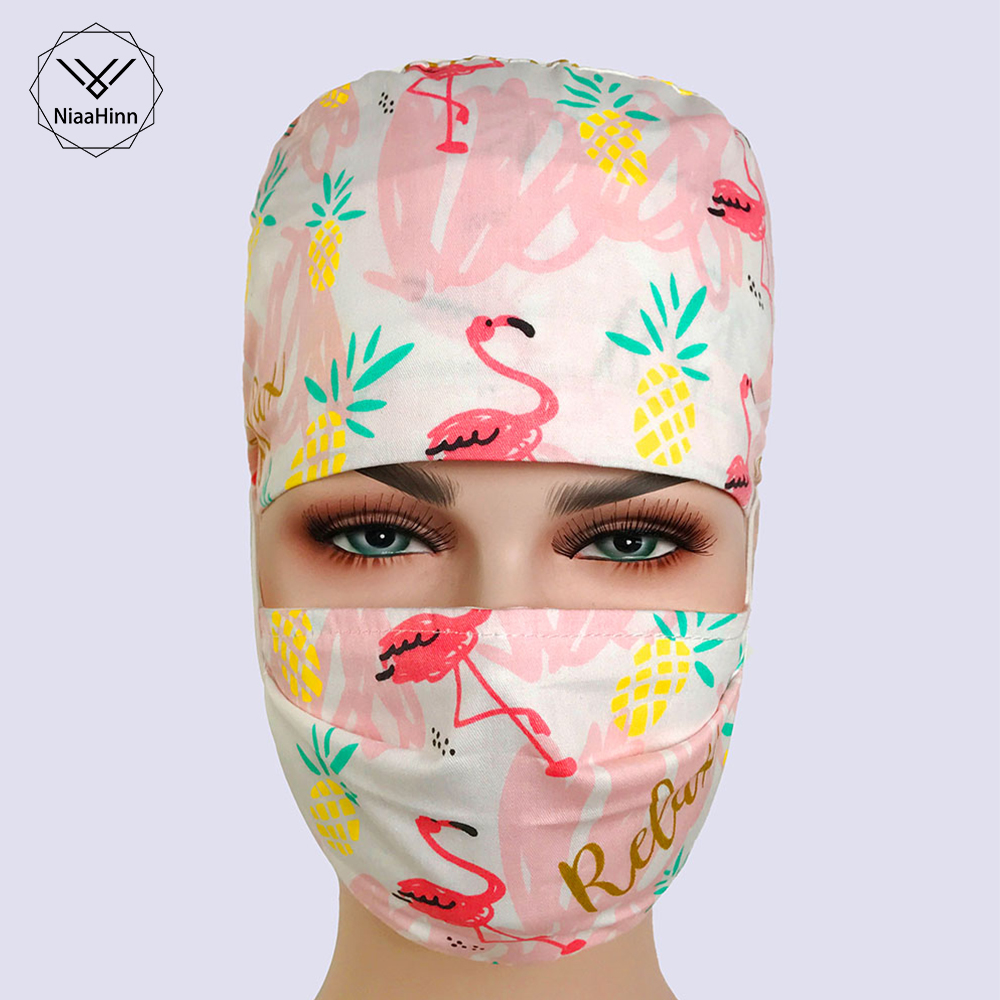 Surgical Cap Dentists Pink Flamingo Collection Surgical Cap Medical Scrub Caps Hospital Work Hats With Tieback Elastics Doctor