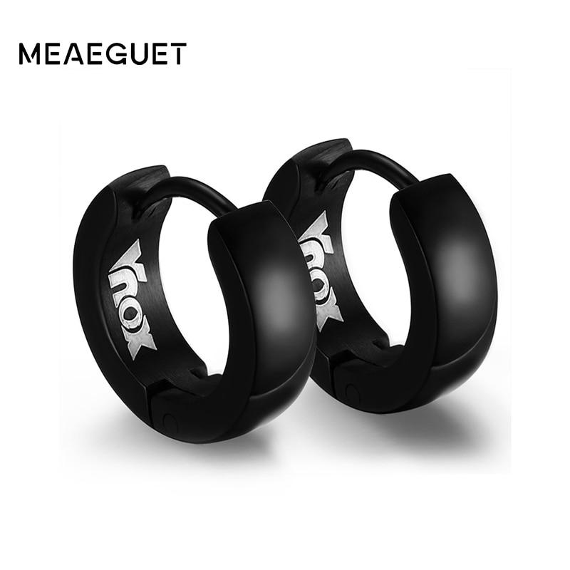 Meaeguet Rock Punk Pendientes Huggie de acero inoxidable Pendientes de aro pequeños pequeños para hombres, mujeres, 4 colores