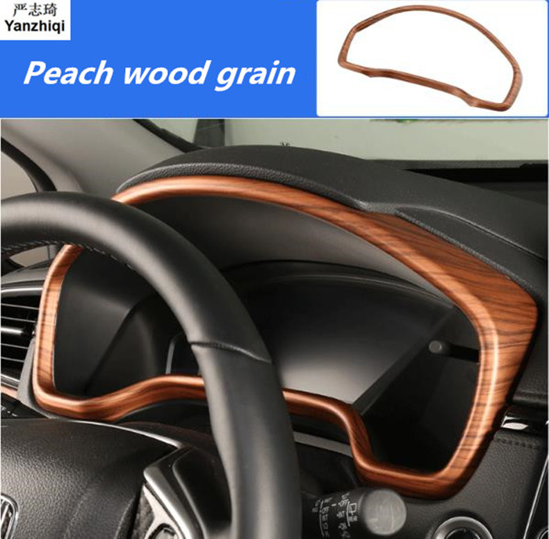 ABS Chrome Carbon Fiber Peach wood grain Dashboard Decorative Frame Cover Trim Car Styling For Honda CRV CR-V 2017 2018