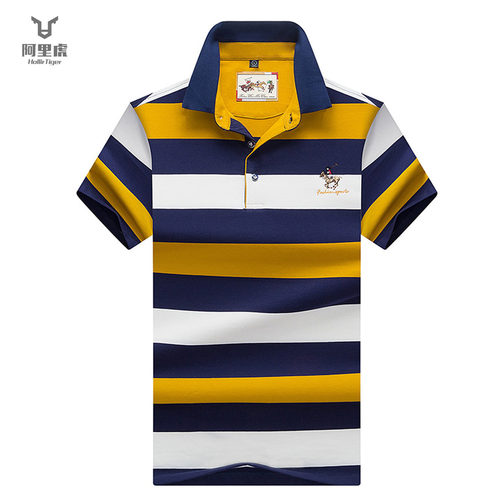 Hollirtiger Cotton Shirt   polo   homme Embroidery shirts Durable Collar Mens Clothing