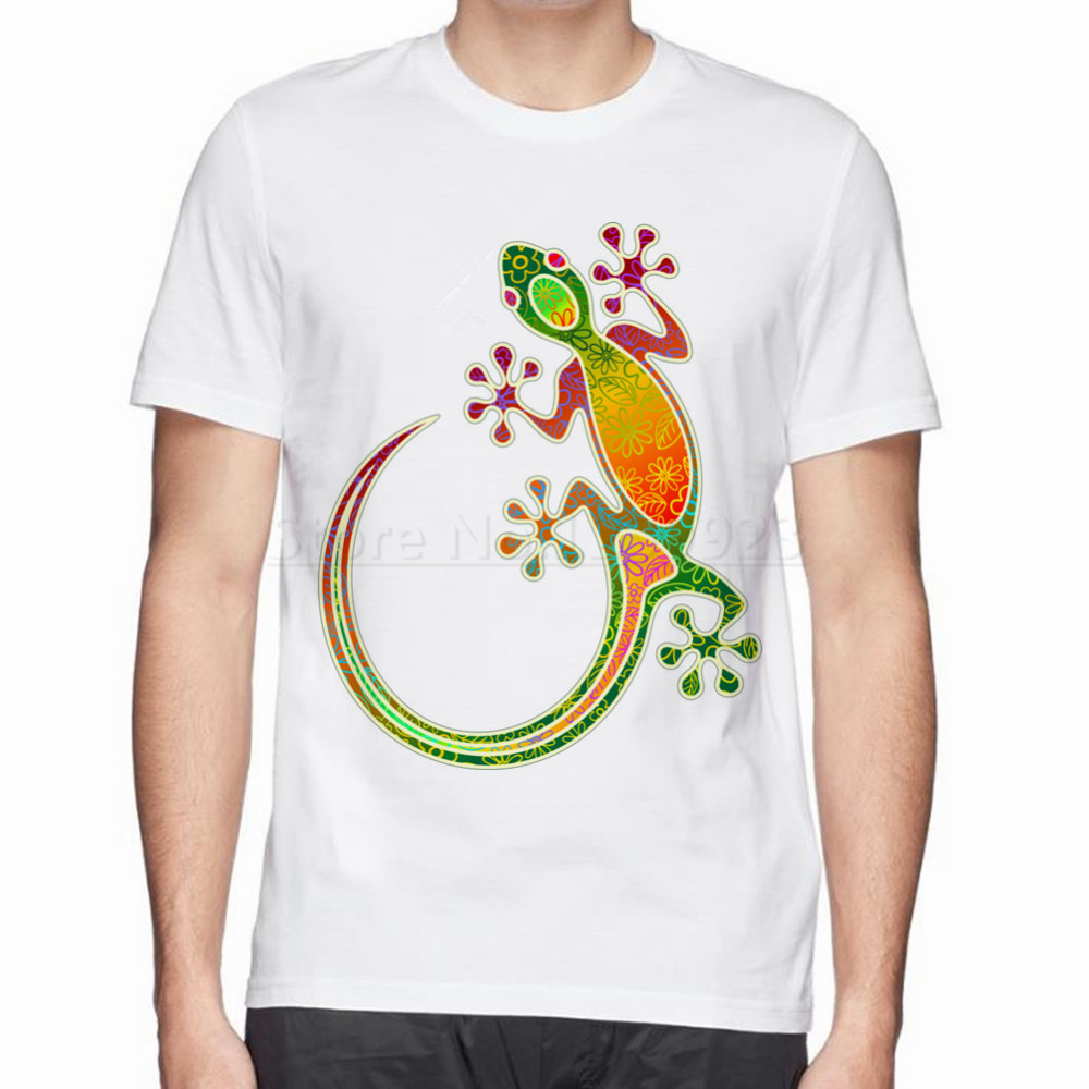 Tribal design t shirt - New Summer Gecko Floral Tribal Art Cotton T Shirt Man Tops Tees Design Pattern Men Cotton T Shirt Interesting Pattern