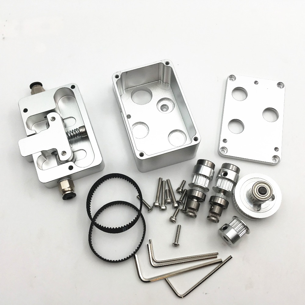 Updating All Metal Belted Dual Drive Bowden Extruder kit for DIY Reprap UM 3D printer two wheel Strong and Silent