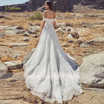 Loverxu Sweetheart A Line Wedding Dress 2019 Demure Applique Off The Shoulder Backless Lace Bridal Gown Chapel Train Bride Dress