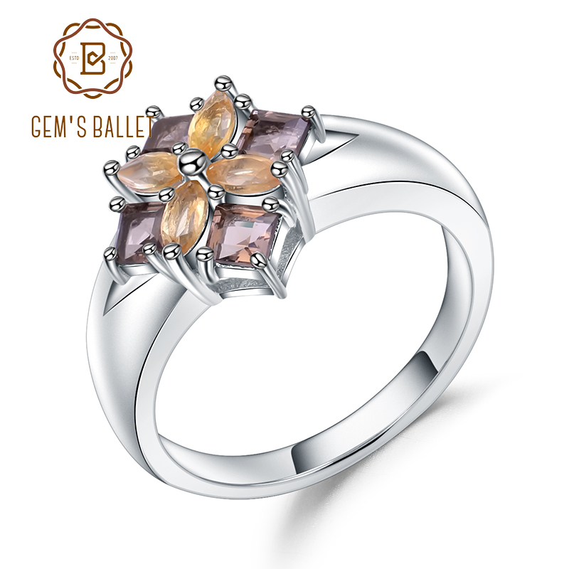 Gem's Ballet Multicolor Natural Smoky Quartz Citrine Cocktail Ring 925 Sterling Silver Flower Rings For Women Fine Jewelry