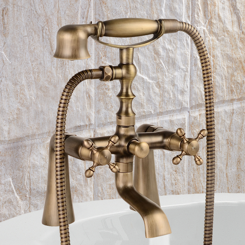 Deck Mounted Antique Bathtub Faucet Dual Handles Mixer Tap with Hand Shower deck mounted led nickel brushed shower faucet bathtub mixer tap 3 handles faucet