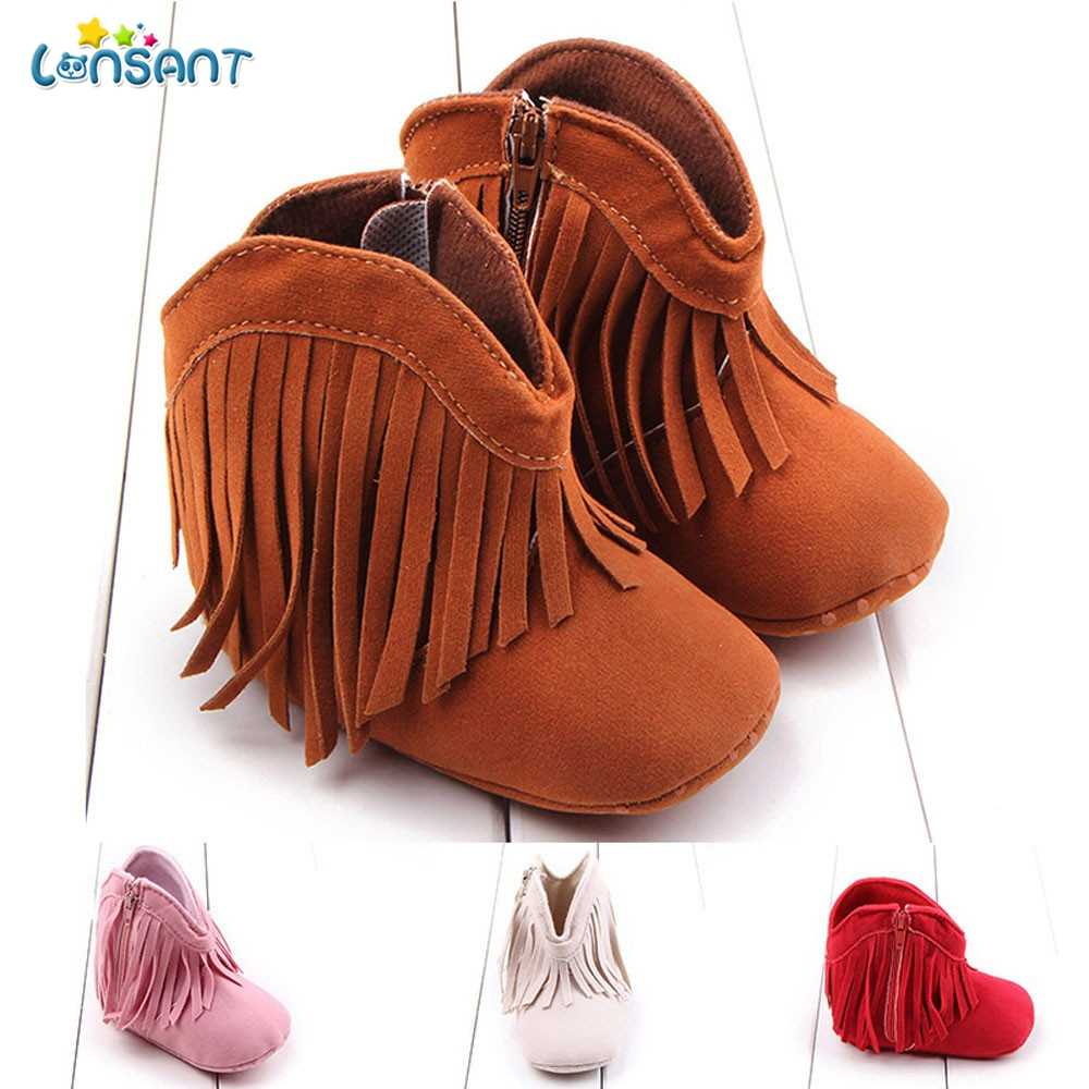 LONSANT Toddler Infant Newborn Baby Girl Shoes Soft Sole Boots Prewalker Tassel E1120