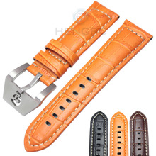 купить HENGRC 22 24mm Watch Band Strap Men Black Brown Genuine Leather Watchbands Stainless Steel Hollow Pin Buckle Watches Accessories по цене 711.23 рублей
